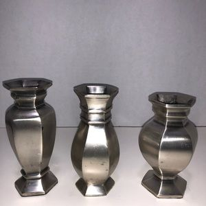 Pottery Barn Accents - Pottery Barn Set of 3 Silver Finish Candle Holders
